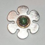 Anhänger AHZ007, Silber mit grünem Turmalincabouchon