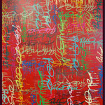 ArtOne Writing Tags Cross Over Red 2012 140x160cm