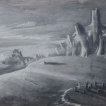 Beach (110 x 60 cm; charcoal on mdf; varnish) RESERVED