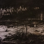 Lombardsijde (110 x 60 cm; charcoal on mdf; varnish) SOLD