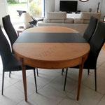 Table rénovée bicolore - Laque noire et vernis mat