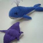 Balena e manta uncinetto e feltro