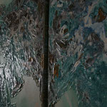 one earth - all over the world I - Acryl mit Graphit und Patina auf Leinwand - 160 x 360 - Ausschnitt 1