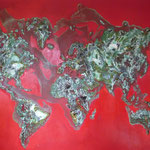 one earth -  red spirit - Acrylic with patina, on canvas - 47 x 63