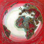 one earth - alightening red spirit - Acrylic with sand and patina, on canvas - 39,5  x 39,5 x 1,5