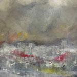 Sandsturm über Teheran - Acryl & mixed media auf Holzkorpus - 80 x 100 x 4