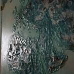 one earth - all over the world I - Acryl mit Graphit und Patina auf Leinwand - 160 x 360- Ausschnitt 2