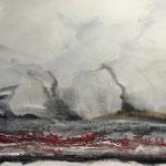 Im Land der Geysire - Acryl & mixed media auf Holzkorpus - 80 x 100 x 4