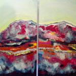 voyage des couleurs - Acryl mit Sand - 80 x 100  x 4