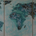 one earth - all over the world I - Acryl mit Graphit und Patina  auf Leinwand - 160 x 360