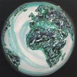 one earth - black magic - Acrylic with patina, on canvas - 39,5  x 39,5 x 1,5