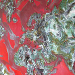 one earth -  red spirit - Acryl mit Patina auf Leinwand - 120 cm  x 160 cm - Ausschnitt