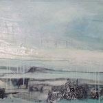 Eislandschaft - Acryl mit Sand, Graphit und Kohle - 160 x 60