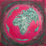 one earth - pink spirit - Acrylic with patina, on canvas - 39,5  x 39,5 x 1,5