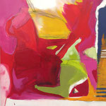 the pink sound of music - Acryl mit Kohle und Graphit - 100 x 100