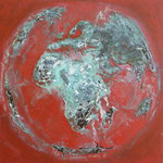 one earth - red spirit - Acrylic with patina, on canvas - 39,5  x 39,5 x 1,5
