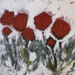 Winterblumen II - Acryl mit Sand - 50 x 50