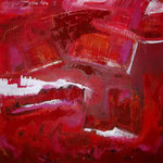 voyage rouge - Acrylic with sand and gloss varnish, on canvas - 39,5 x 39,5 x 1,5