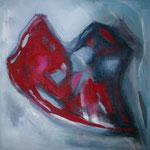 motion - Acryl, Aquacryl und grobes Leinen auf Leinwand - 120 x 120