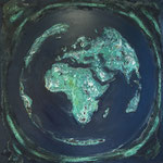 one earth - dark blue - Acrylic with patina, on canvas - 39,5  x 39,5 x 1,5