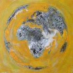 one earth - yellow spirit - Acrylic with patina, on canvas - 39,5  x 39,5 x 1,5