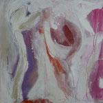 floral I - Acryl mit Sand und Graphit - 80 x 80
