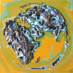 one earth - little treasure - yellow spirit - Acrylic with patina, on canvas - 8 x 8 x 1,5