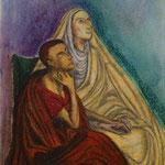 神島 祐紀子  模写「アウグスティヌスとその母モニカ」 8号 クレヨン