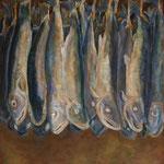 萩原 道子  村上の鮭とば F15 油彩