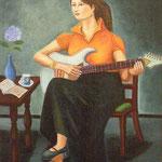 会友 井上 義昭 ギターを楽しむ少女 油彩 F20