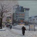 14 会友 高松 典雄 雪の降る街 油 F20