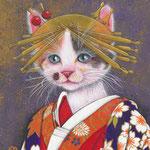 「化粧坂少将」-和福猫の歌舞伎シリーズ