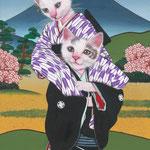 「お軽勘平」-和福猫の歌舞伎シリーズ