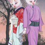 「十六夜清心」-おなじみ和福猫の歌舞伎シリーズ