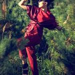 Cropped Kimono Jacket, Waterfall Top, Side-Pleated Trouser; Model: Azaminda Viktoria, H&M: Nora SeNora, Photographer: Mike Weis, Designer: Jennifer Moica