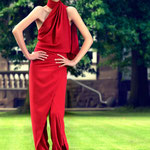 Red Wrap Overall; Model: Zoe, H&M: Nora SeNora, Photographer: Mike Weis, Designer: Jennifer Moica