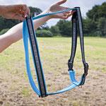 Borte: Brokat Ornamente Lurexsilber / Gurtband: 25 mm schwarz / Unterlegung: Air Mesh, hellblau/aqua