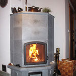 Soapstone fireplace - stays warm for a long time