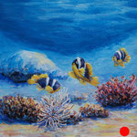 "Underwater. Cardboard, acrylic, 6""x6"", 03-2011."