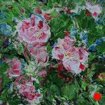 "Spring flowering. Cardboard, acrylic, 6""x6"", 03-2011."