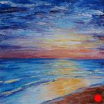 "Sunset. Cardboard, acrylic, 6""x6"", 03-2011."