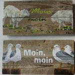 2 Moin-Schilder, mit Schafen und Möwen