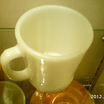 WHITE Glass COFFEE MUGs Cups D HANDLE ANCHOR HOCKING ¥4,800