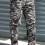 Original 15 Zip Bondage Pants by Tiger Of London- WHITE ZEBRA / ¥14,000 / SKU: ccf759wht