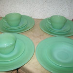 VINTAGE FIRE KING JADEITE PLATE CUP SAUCER LOT JANE RAY ¥11,000