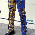 Original 15 Zip Bondage Pants (Wool Blend) by Tiger Of London- SPLIT LEG BLUE/YELLOW PLAID / ¥14,000 / SKU: ccf752bly