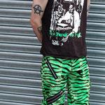 Original 15 Zip Bondage Pants by Tiger Of London- GREEN ZEBRA / ¥14,000 / SKU: ccf759grn