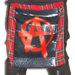 Red Plaid Bum Flap With Anarchy Print by Tiger Of London: ¥4,600/ 18 inches by 16 inches