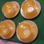 Fire King Cups and Saucers, in the Peach Lustre Pattern by Anchor Hocking Glass Co., ¥5.800