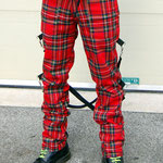 UK 2 Strap Bondage Pants (Wool Blend) by Tiger Of London- RED PLAID / ¥14,000 / SKU: ccf704red